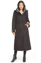 Gallery Long Hooded Faux Shearling Coat Black
