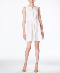 Calvin Klein Sleeveless Zip Front Eyelet Fit And Flare Dress White
