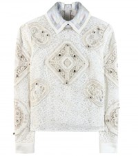 Peter Pilotto Tundra Embellished Crochet Lace Top Neutrals