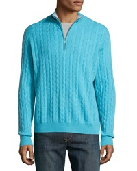 Neiman Marcus Zip Front Cashmere Cable Knit Pullover Sweater Aqua
