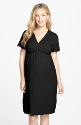 Women's Japanese Weekend Surplice Maternity Nursing Nightgown Black