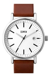 Women's Edwin 'Epic' Leather Strap Watch 38Mm Black Silver