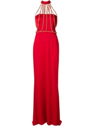 Moschino Chain Detail Gown Red