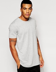 Asos Longline T Shirt With Crew Neck And Relaxed Skater Fit Greymarl