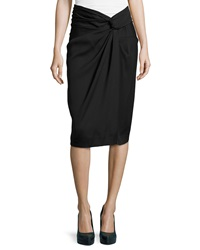 Donna Karan Sarong Knot Draped Skirt Black