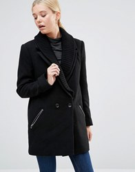 See U Soon Coat With Ribbed Collar And Zip Detail Black