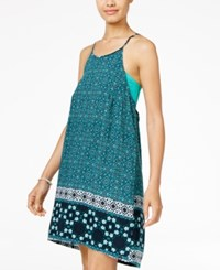 Hurley Juniors' Isadora Printed Strappy Back Shift Dress Light Pastel Blue