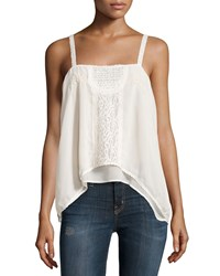 Romeo And Juliet Couture Sleeveless Sheer Lace Trim Woven Top Ivory
