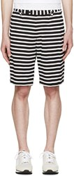 08Sircus Black And White Striped Border Shorts