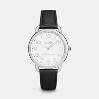 Coach Delancey Stainless Steel Leather Strap Watch Black