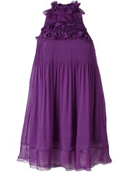 Giamba Ruffle Front Pleated Dress Pink And Purple