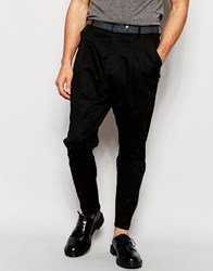 Solid Tapered Chino With Drop Crotch Black