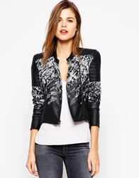 Bcbgmaxazria Faux Leather Jacket In Crackle Print Black