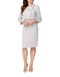 Tahari By Arthur S. Levine Two Piece Pearl Neck Jacket And Sleeveless Dress Suit Pearl Grey