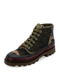 Valentino Camouflage Canvas High Top Sneaker Green Gray Green Grey