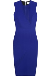 Victoria Beckham Georgette Paneled Wool And Silk Blend Dress Blue