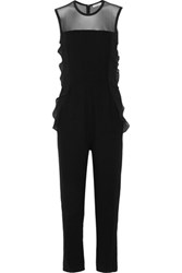 Sandro Pretty Mesh Paneled Crepe Jumpsuit Black