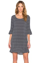 Velvet By Graham And Spencer Elida Printed Challis Short Sleeve Shift Dress Navy