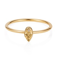 Lee Renee Tiny Voodoo Erzulie Ring Diamond And Gold Vermeil Nude Neutrals Gold