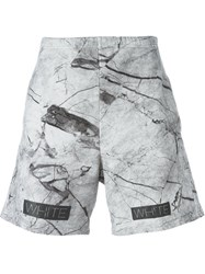 Off White Marble Print Track Shorts Grey
