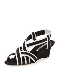 Manolo Blahnik Lasti Crisscross Wedge Sandal Black White Women's