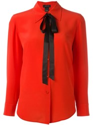 Marc Jacobs Craape De Chine Bow Shirt Red