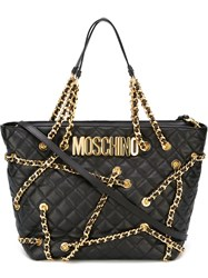 Moschino Chain Embellished Tote Black
