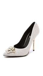 Versace Leather Studded Pumps White Gold