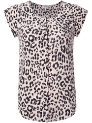 Joie Leopard Print Shortsleeved Blouse Nude And Neutrals