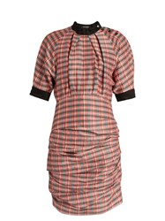 Isabel Marant Milton Checked Ruched Poplin Dress Pink Multi