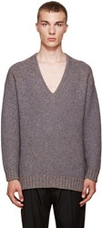 Wooyoungmi Grey V Neck Sweater
