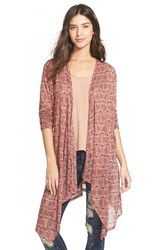Junior Women's Painted Threads Stripe Open Front Cardigan