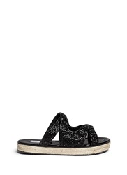 Jimmy Choo 'Nile' Crystal Mix Patent Leather Sandals Black