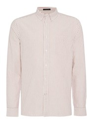 Howick Halifax Oxford Long Sleeve Striped Shirt Aubergine