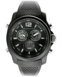 Sean John Men's Sport Analog Digital Black Silicone Strap Watch 46Mm 10024431