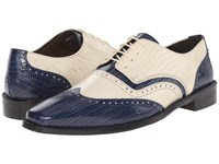 Stacy Adams Granado Dark Blue Ivory Men's Lace Up Wing Tip Shoes
