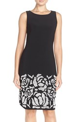 Women's Chetta B Embellished Jersey Sheath Dress Black White