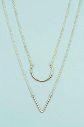Boohoo Double Pendant Layered Necklace Gold
