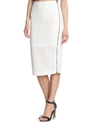 Kiind Of Perforated Pencil Skirt Ghost White