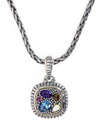 Effy Sterling Silver 18K Yellow Gold And Multi Stone Pendant Necklace