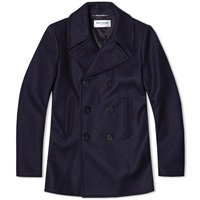 Saint Laurent Wool Peacoat Navy