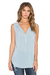 Velvet By Graham And Spencer Eleanor Rayon Challis Three Button Tank Blue
