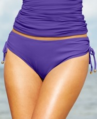 Anne Cole Side Tie Swim Brief Bottom Women's Swimsuit Dark Purple