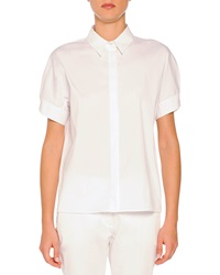 Piazza Sempione Short Sleeve Pleated Back Poplin Blouse White