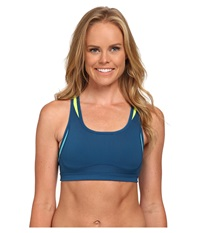New Balance The Shapely Shaper Fitted Bra Deep Water Sea Glass Women's Bra Blue