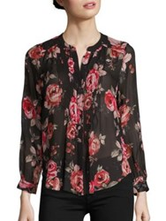 Joie Meadows Gypsy Rose Printed Silk Blouse Caviar
