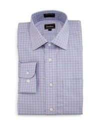 Neiman Marcus Classic Fit Non Iron Plaid Dress Shirt Blue Pink