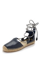 Tory Burch Positano Lace Up Flat Espadrilles Bright Navy