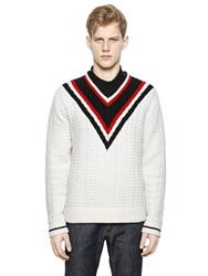 Givenchy V Neck Cotton Cable Knit Sweater White