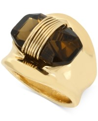 Robert Lee Morris Soho Gold Tone Wire Wrapped Stone Sculptural Ring